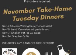 Tuesday Nov 3: Chicken Wellington w/ fennel salad